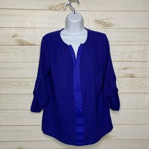Blue v-neck blouse by Collective Concepts